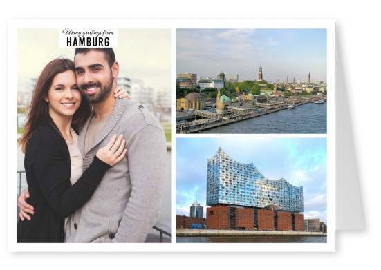 Personalizable greeting card from Hamburg with photos of the harbour and the skyline