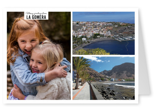 Personalizable greeting card from La Gomera in Spain with photos of city and nature