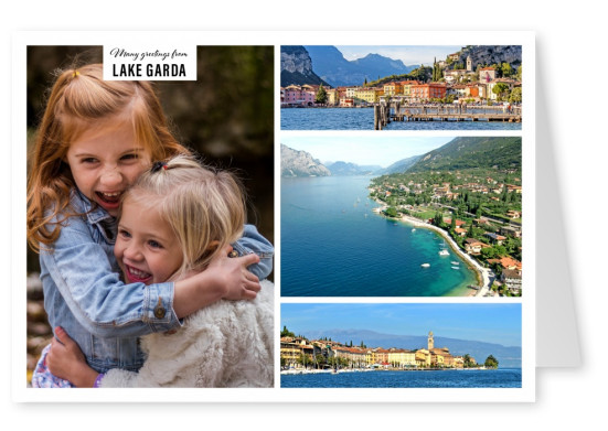 Personalizable greeting card from Lake Garda in Italy with differnet photographies of the lake