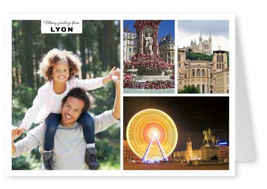 Personalizable greeting card from Lyon with photos of the differnt attractions