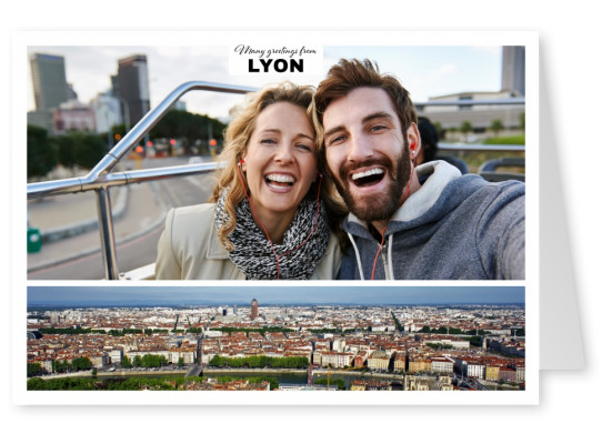 Personalizable greeting card from Lyon with a panorama photo