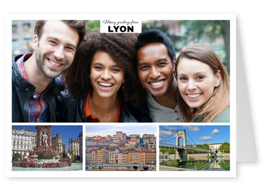 Personalizable greeting card from Lyon in France with photos