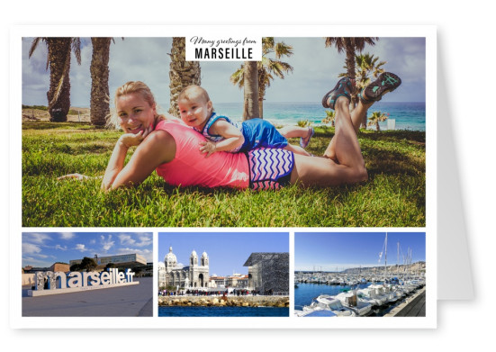 Personalizable greeting card from Marseille with photos of central themes