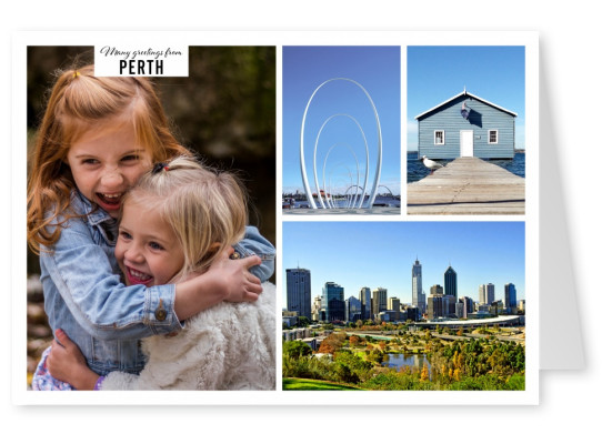 Personalizable greeting card from Perth with skyline and nature photos