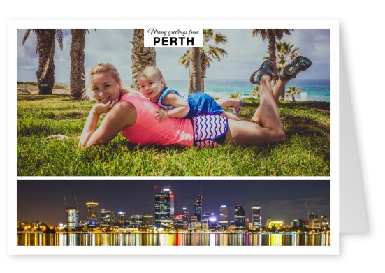 Personalizable greeting card from Perth with a panorama of the skyline by night