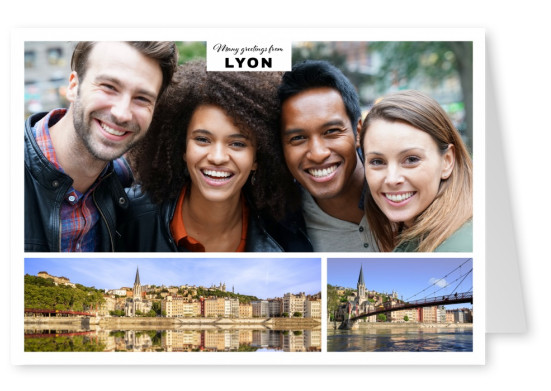 Personalizable greeting card from Lyon in France with panorama photos of the city at the water