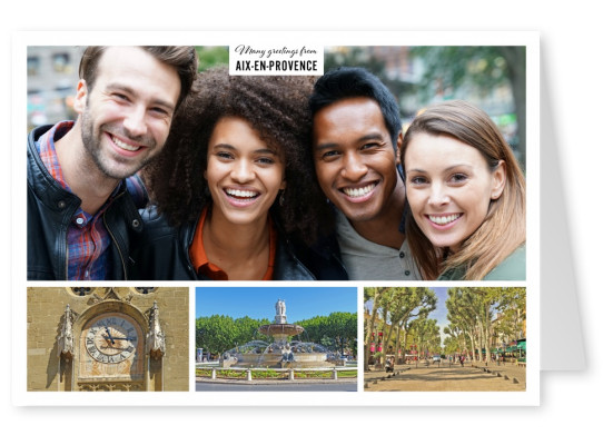 Personalizable greeting card from Aix-en-Provence in France with photos of the architecture