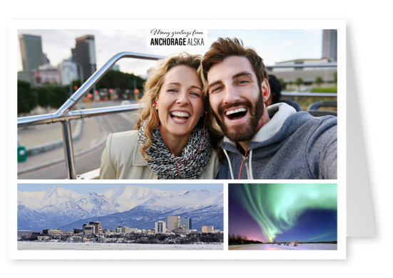 Personalizable greeting card from Anchorage in Alaska with a panorama photo of the city during sunset