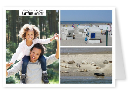 Personalizable greeting card from the island Baltrum with photos of the beach and the city