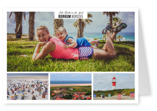 Personalizable greeting card from the northsea island borkum with photos of the beach