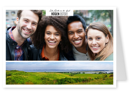 Personalizable greeting card from Rügen at the eastsee with a panorama of the island