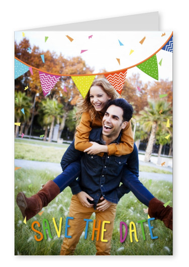 personalizable invitation with confetti and banderoles