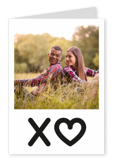 Personalizable love postcard in black and white with XO