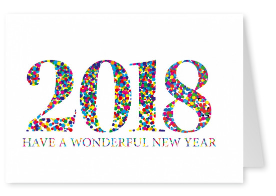 New Years Card in confetti lettering