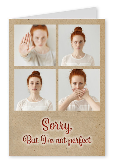 Personalizable sorry postcard with brown paper backround and mouth