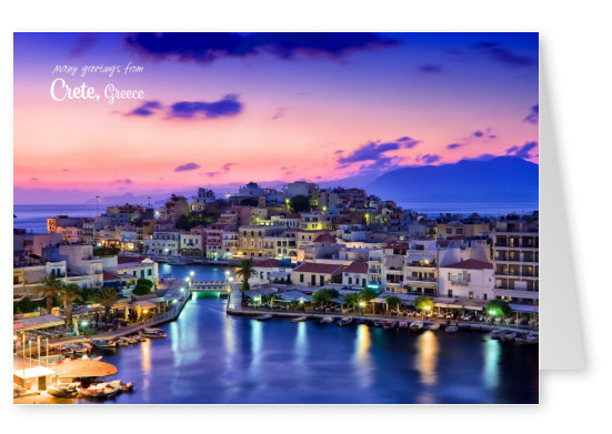 photo of the port in crete at evening