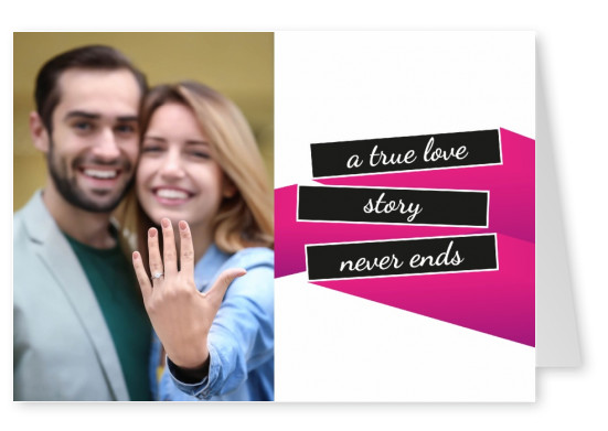 A true love story never ends writen on black n' pink bars on white background