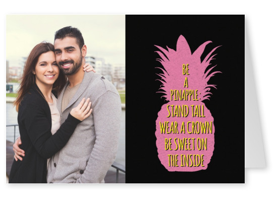 pink silhouette of a pineapple on black ground with neon yellow lettering