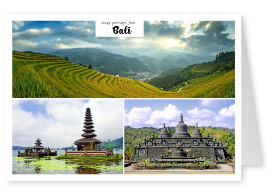 photocollage of Bali with temple
