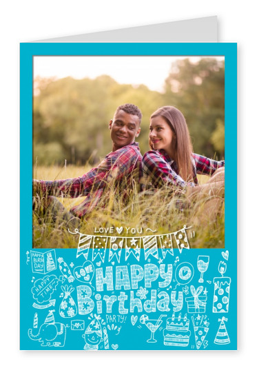 doodle of birthday items and happy birthday lettering on blue ground photo postcard template