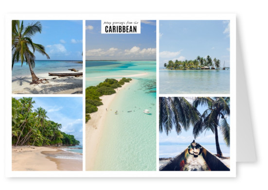 mutlipicture photocollage of caribbean sea