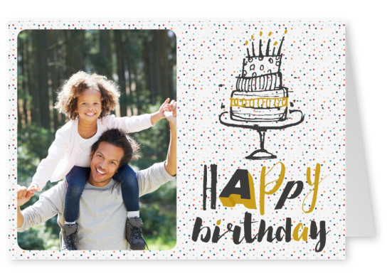 black n golden calligraphy message and a doodle of a birthday cake on polka dot background