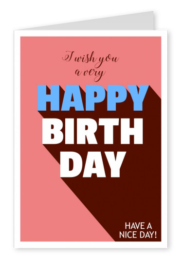 Send out birthday cards online printed mailed for you fat modern lettering in blue red and brown m4hsunfo