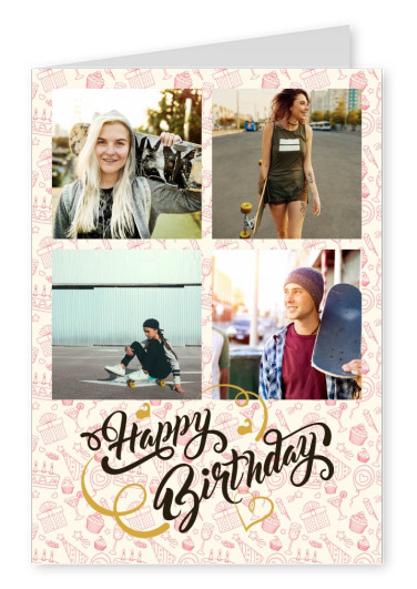happy birthday item pattern background with trendy calligraphy lettering on top