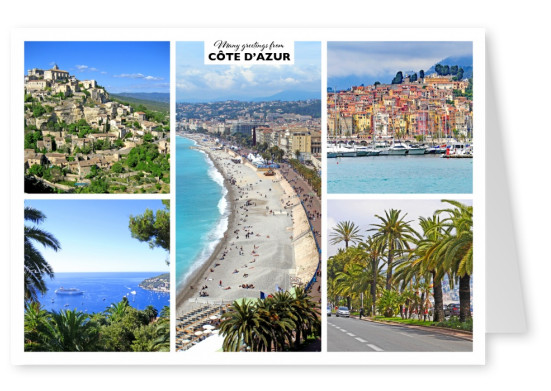 photocollage of cote 'dazur with five pictures