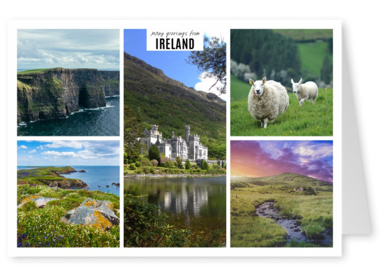 photocollage if Ireland showing five typical landscape pics
