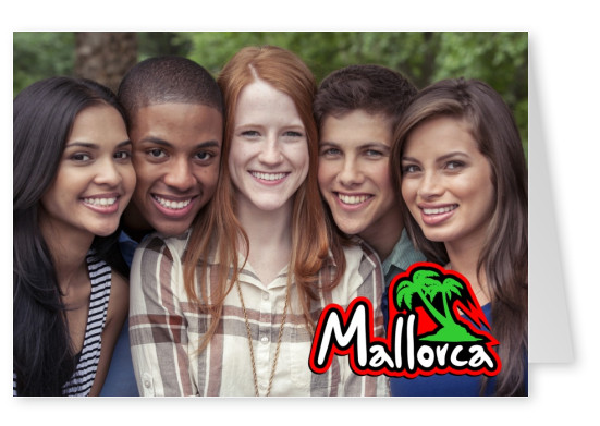 mallorca logo with palm tree red black neongrün