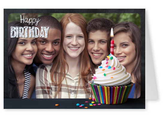 photo of a birthday muffin with black frame