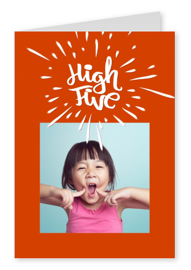 high five in bold retrolettering handwritten on red background