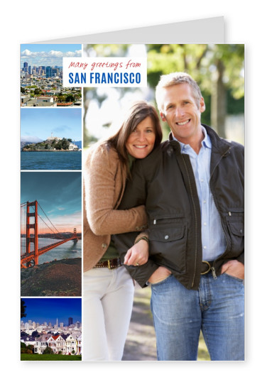 photocollage of San Francisco showing alcatraz, golden gate, painted ladies with US flag