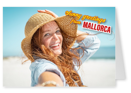 mallorca retro lettering in beige red blue in reght top corner