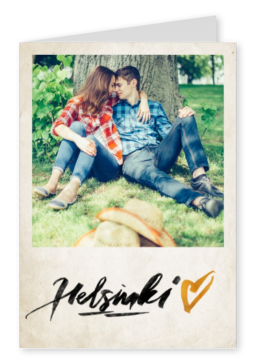helsinki calligraphy with golden heart on paper texture background