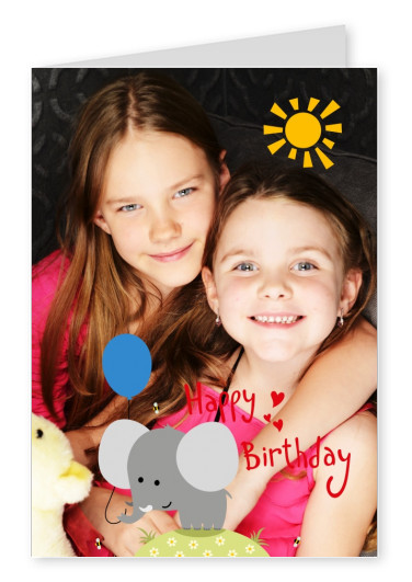 Illustration of a sun and a cute little elephant saying happy birthday in red on top of a photo template.