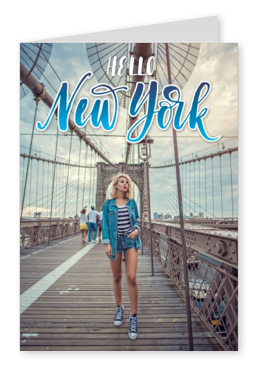 hello new york in fresh blue n white retro lettering american style