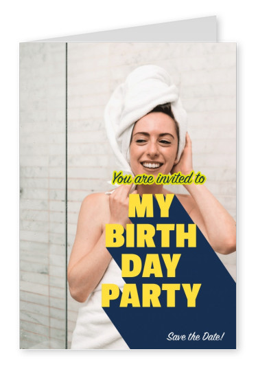 bold modern lettering in yellow with blue shadow inviting to birthday party