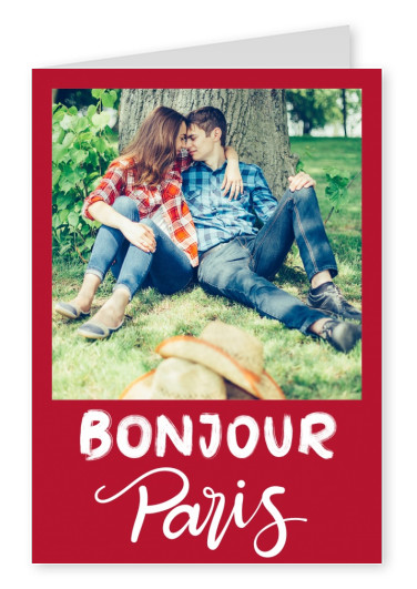 Bonjour Paris white lettering on red