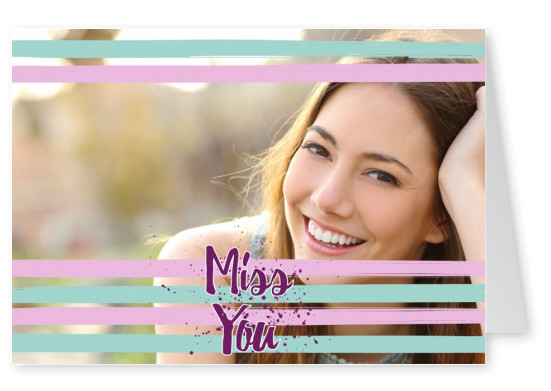 miss you calligraphy on pastelcouloured striped background