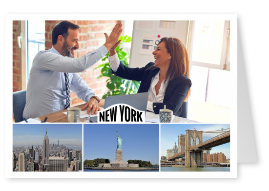 new york photocollage showing, brooklyin bridge, Statue of Liberty and empire state building