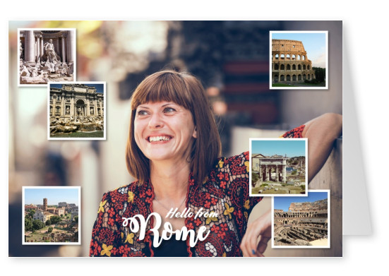 photocollage of Rome with forum romanum,colosseum,trevi fountain