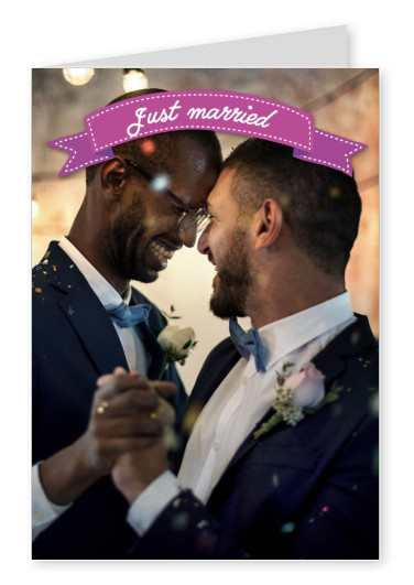 pink ribbon with white lettering just married