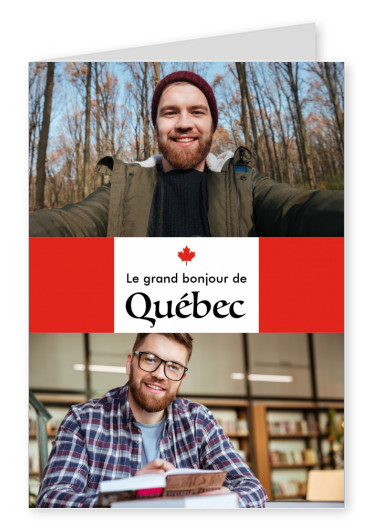 Québec greetings in French language red white
