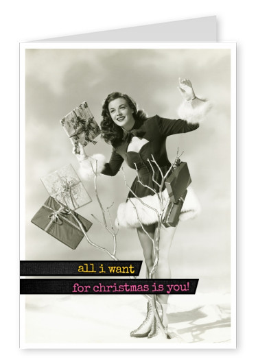 vintage photo woman with presents in dress quote all i want for christmas is you