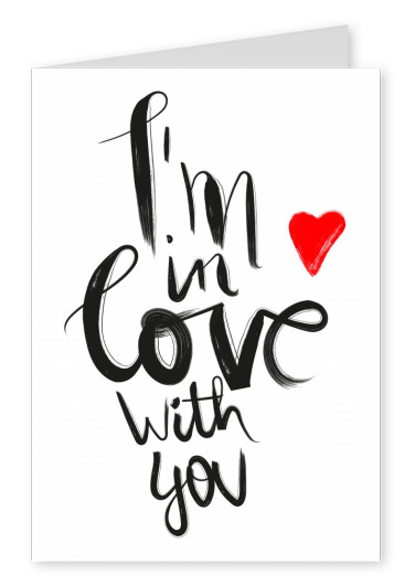 i´m in love with you quote postcard design
