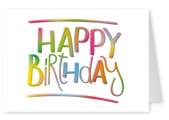rainbow happy birthday postcard design layout template