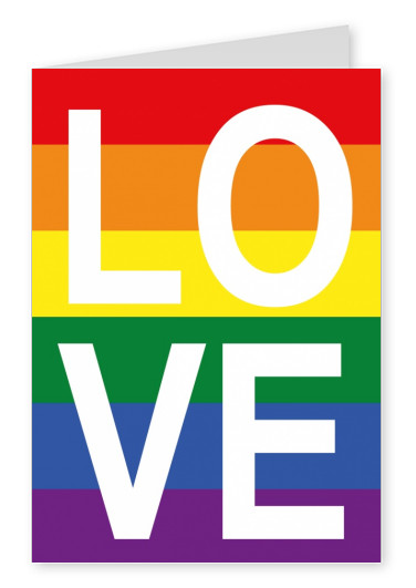 rainbow colors love colorful postcard design