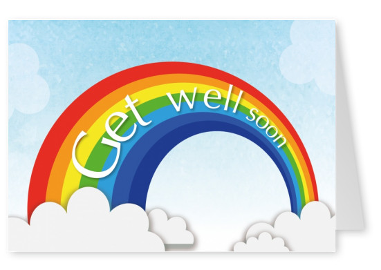 rainbow kids postcard get well soon
